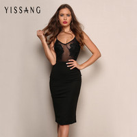 2016 Sexy Lace Party Dresses Strap Summer Perspective Floral appliques decorated Women Dress