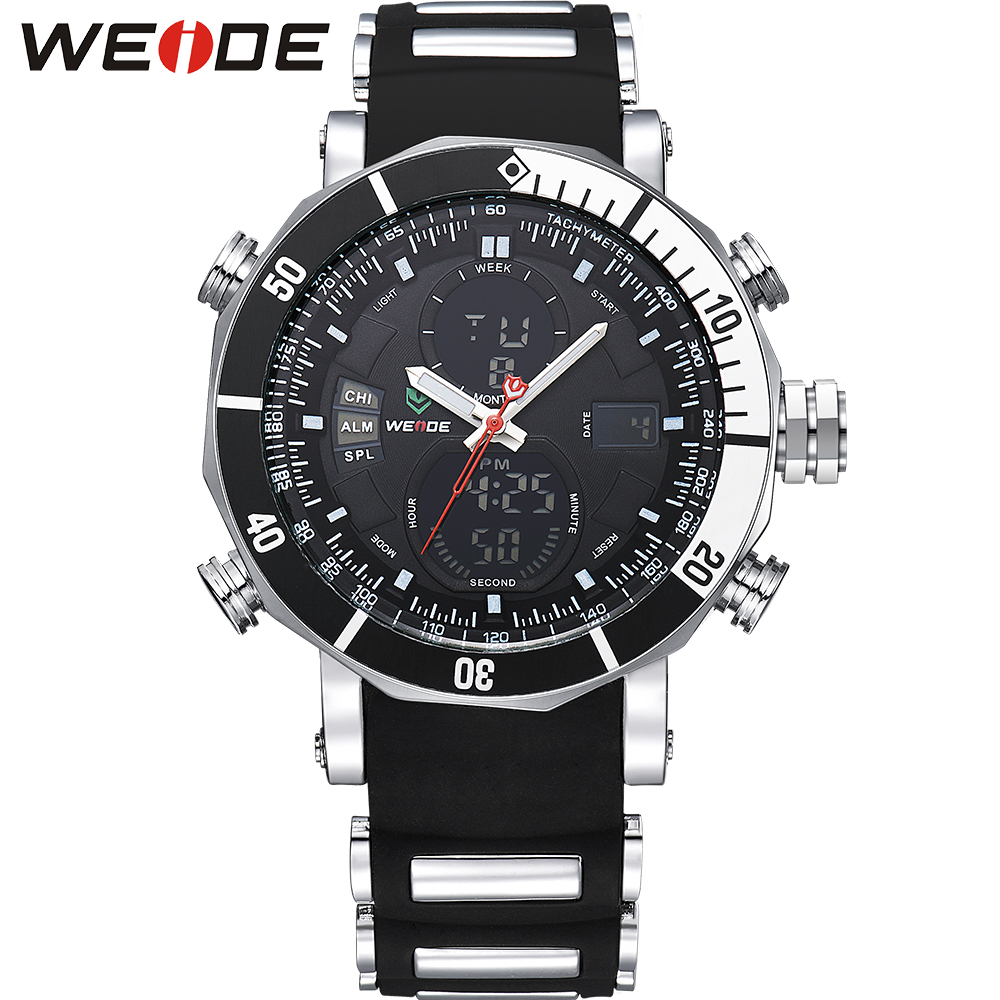 WEIDE Brand Sport Military Watch Men LCD Quartz Analog Digital Dual Time Big Dial Display Silicone Strap Buckle Male Wristwatch weide wh2309b military sports quartz watch double movts analog digital led dual time display alarm wristwatch for men
