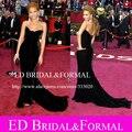 Beyonce Vestido no Oscar Tapete Vermelho de Veludo Preto Celebridade Inspirado Vestido de Noite Formal Longo Vestido de Baile Equipada