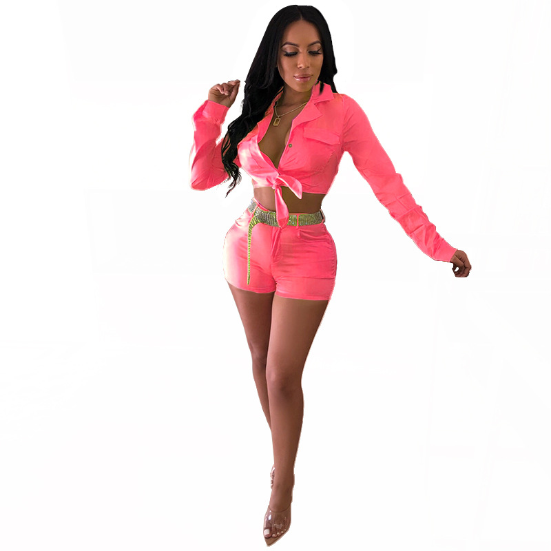 Fluorescent Color Fashion Suit Single-breasted Long-sleeved Short Shirt + Straight Mini Hot Shorts Two-piece Suit H3244
