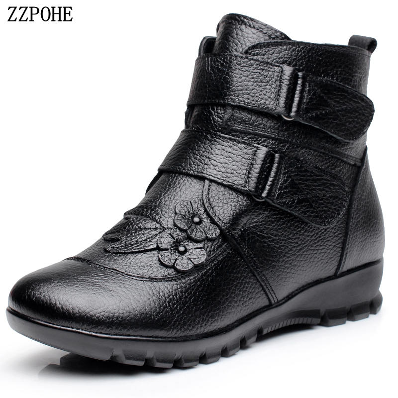 Plus Size Women Winter Shoes Woman Genuine Leather Wedges Flat Ankle Boots Fashion Female Warm Snow Boots Ladies Short Boots