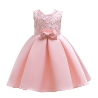 LJWWMTZ new kids dresses Flower Girls Dress Wedding ribbon Flower adornment pink bow Birthday Baby Party K2888