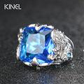 Hot Punk Big Blue Cubic Zirconia Rings Fashion  Plating Silver Austrians Crystals Ring For Women Vintage Wedding Jewelry