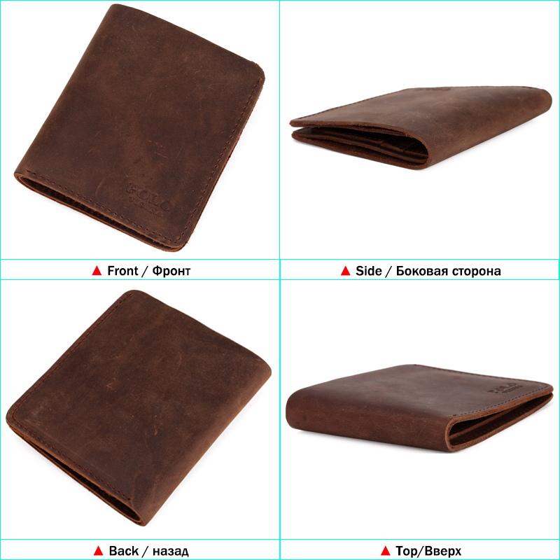 7a616d8e73 VICUNA POLO Natural Genuine Leather Man Wallet Vintage Simple Design Men's  Slim Short Wallet Crazy Horse Leather Men Purse Hot-in Wallets from Luggage  ...