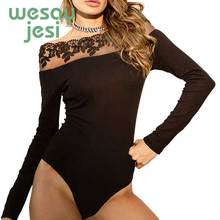 Black Bodysuit Women Lace Jumpsuits Skinny Bodycon Bodysuits 2019 summer Stretch Off Shoulder Sexy Playsuit black lace details off the shoulder short sleeves bodysuits