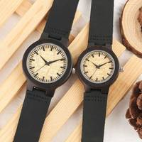 Парные часы, простые наручные часы ручной работы из эбенового дерева, стильные деревянные часы с черным ремешком из натуральной кожи, часы д...