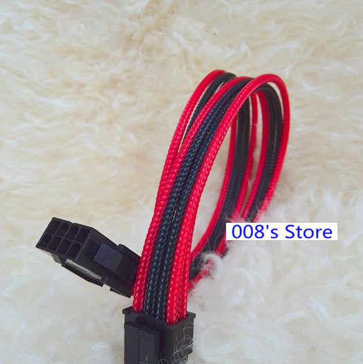 Cable Length: Other, Color: Blue Black Cable Occus New Laptop Power Wire Connector for 30cm Single Sleeved 8Pin CPU to 4+4Pin Extender PC Extension Cable