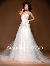 free shipping 2014  hochzeit new style hot sale bridal dress bride sweetheart princess customized lace appliques wedding dresses