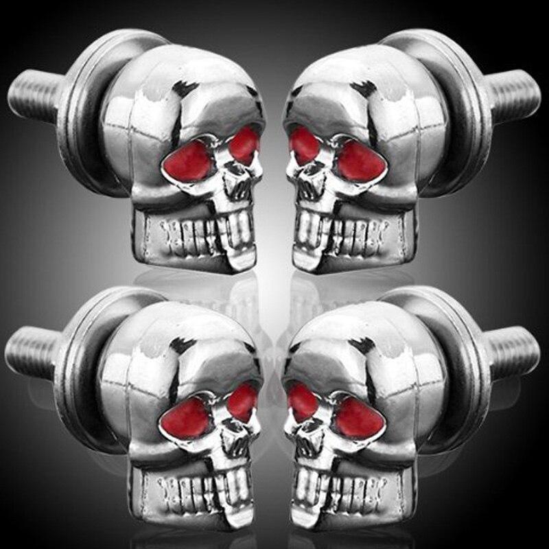 ZYHW Marca 3D diseño cráneo bolts 4 unids 6mm Chrome Skull Ojos ...