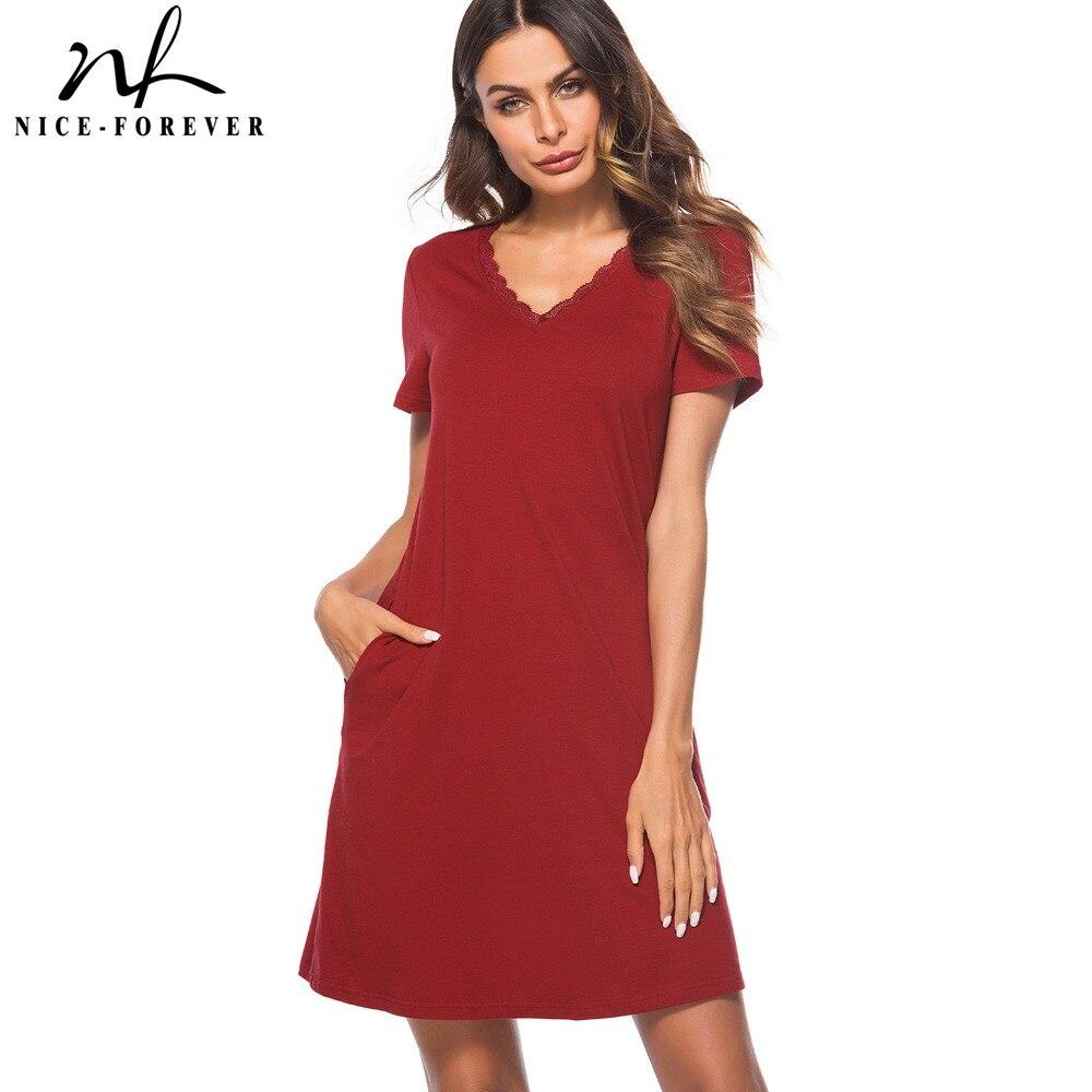Nice-forever Ladylike Red Color Lace V Neck Pocket Vestidos Short Sleeve Work Women Straight Shift Summer Dress T025