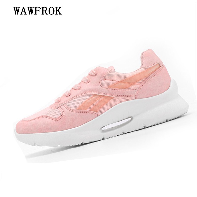Women Sneakers 2018 Summer Women Casual Shoes Fashion Breathable Mesh Flats Platform Pink White Casual Women Shoes