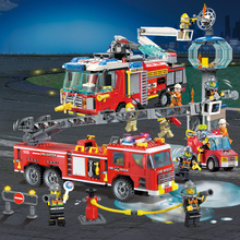 City Police Firefighter Rescue Ladder Truck Spray Water Car Train Building Blocks Sets DIY Brick Kids Toys Compatible Legoes