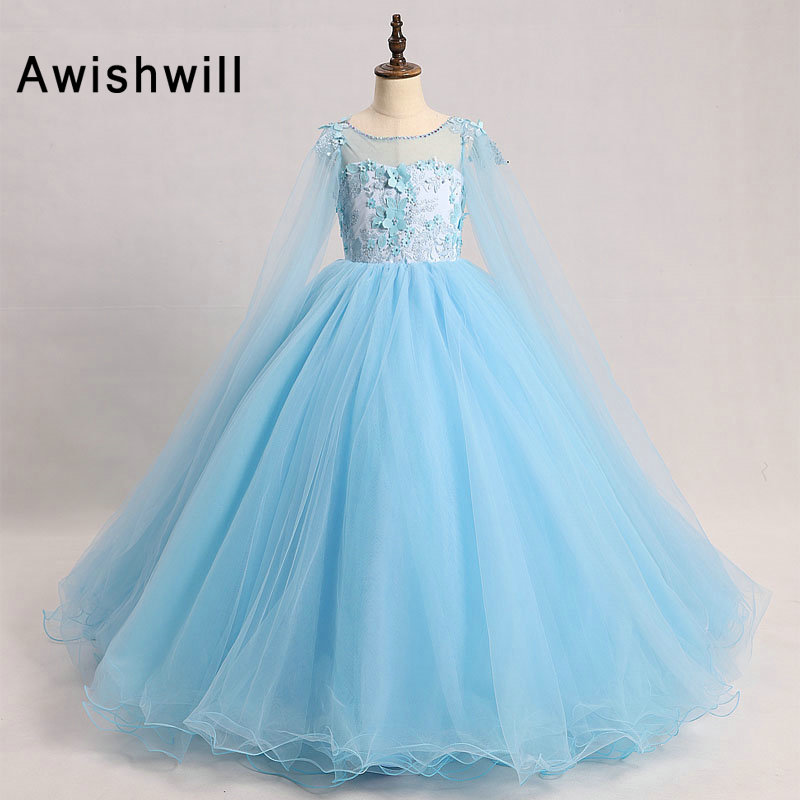 New Blue Color Kids Evening   Dress   Pageant Communion   Dress   Appliques Tulle Ball Gown Long Sleeve   Flower     Girl     Dresses   for Wedding