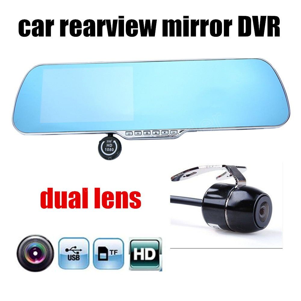 2016 New 4.3 inch dual lens Car DVR HD Car Camera Dash Cam Video Recorder Rearview Mirror Vehicle camcorder night vision image