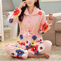 DoreenBow Winter Warm Pyjamas Women Sleepwear Female Pajamas Sets Plus Size Home Suits Sleep Flannel Pajamas