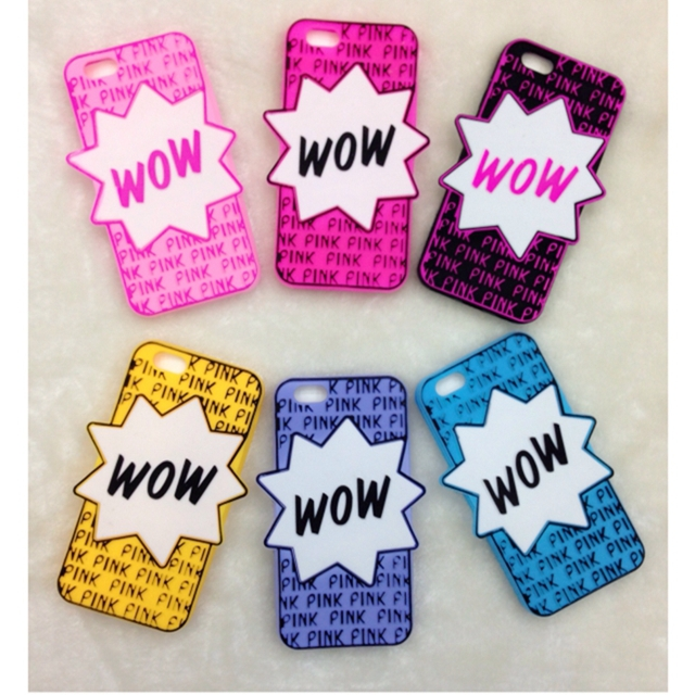 """2015 Newest Cindy Color Victoria/'s Secret PINK """"WOW"""" Letters 3D Cute Soft Rubber Silicone Case Cover iPhone 6 4.7inch - Shen zhen HW (3C store Digital Accessories Company)"""
