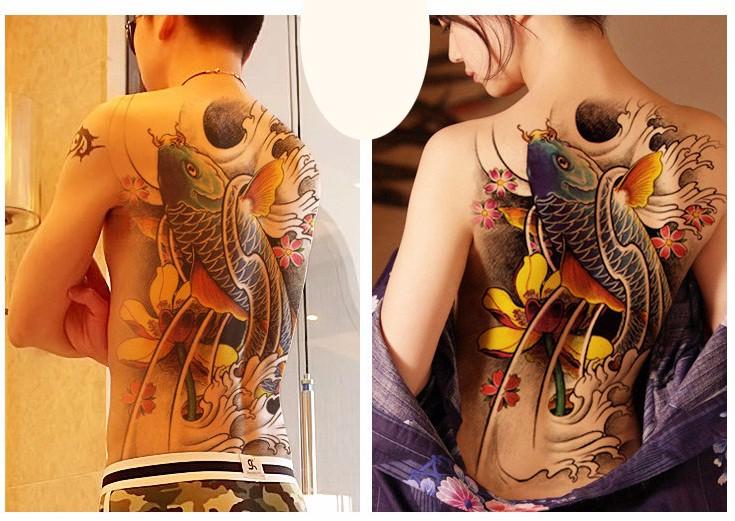 Waterproof large blue fish Temporary Tattoo Stickers 34x48cm big full back carp Tattoos Men and WomenFake Tattoo Designs 2