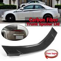 Автомобиль Реальные углеродного волокна задний багажник спойлер крышкой крыло для Cadillac CTS Седан 2008 2013 заднее крыло спойлер сзади магистрал