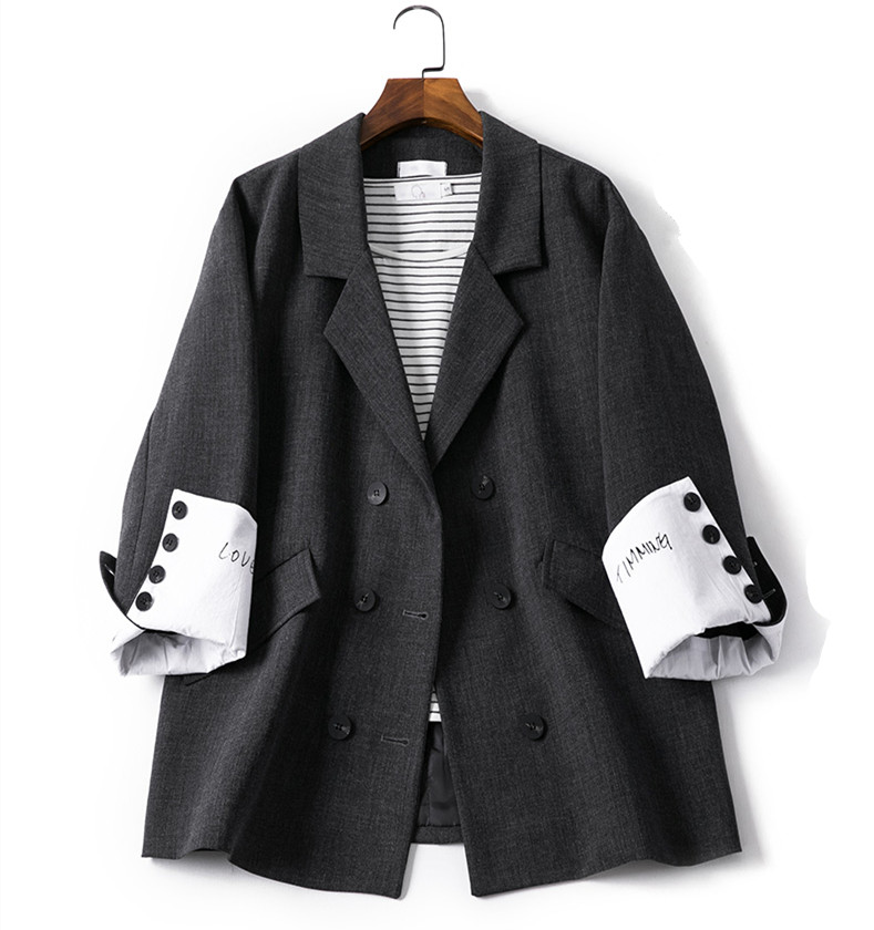 Fashion Double Breasted Blazer Long Sleeve Letter Print Loose Suit Coat Jacket Casual Women Black Blaser Femme Clothes Tops
