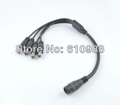 1pcs 5.5x2.1mm DC Power 1 Female Jack to 4 Male Plug Splitter Adapter Cable for Security CCTV Camera Free shipping woaser 1pcs dc power jack splitter adapter connector cable 1 dc female to 4 male plug for cctv camera led strip light