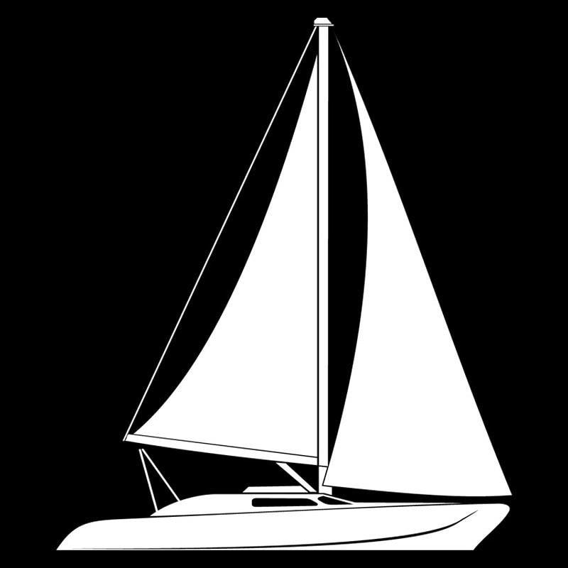 Segelboot zeichnung schwarz  12,1 cm * 14,2 cm Segelboot Mode Auto Styling Dekoration Vinyl ...