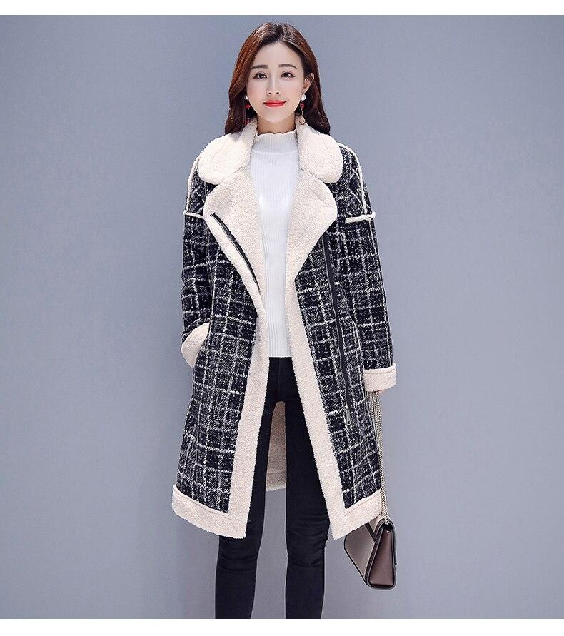 Manteau Flanelle Chaude Vérifié D'hiver Mélanges Casual Collier Mode Épais Femmes Longs Coton 2018 De Manteaux Femme Grand Laine 8wqtfxqF