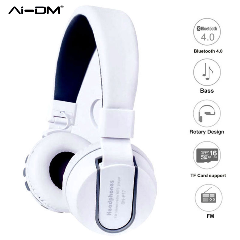 AIDM Noise Cancelling Bluetooth Over Ear Headphone with Microphone Hi-Fi Stereo Sound Portable Headset For Samsung iPhone Xiaomi m320 metal bass in ear stereo earphones headphones headset earbuds with microphone for iphone samsung xiaomi huawei htc