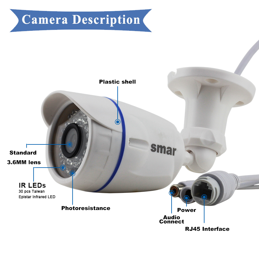 Image 5 - Smar HD1MP 2MP IP Camera Outdoor Indoor H.264 720P H.265 1080P Bullet Camera POE/External Audio Optional Security Night Visionpoe ip cameraip cameravision camera -