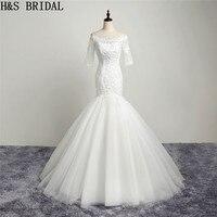 H & S свадебное платье с коротким рукавом, кружевное свадебное платье русалка, аппликация, свадебное платье, бисероплетение, свадебные платья