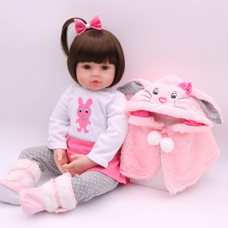 New Doll Reborn Doll With Pink Clothes Soft Cloth Body Silicone Toddler Reborn Babies Girl Dolls Toys Birthday Gift Bonecas adorable soft cloth body silicone reborn toddler princess girl baby alive doll toys with strap denim skirts pink headband dolls
