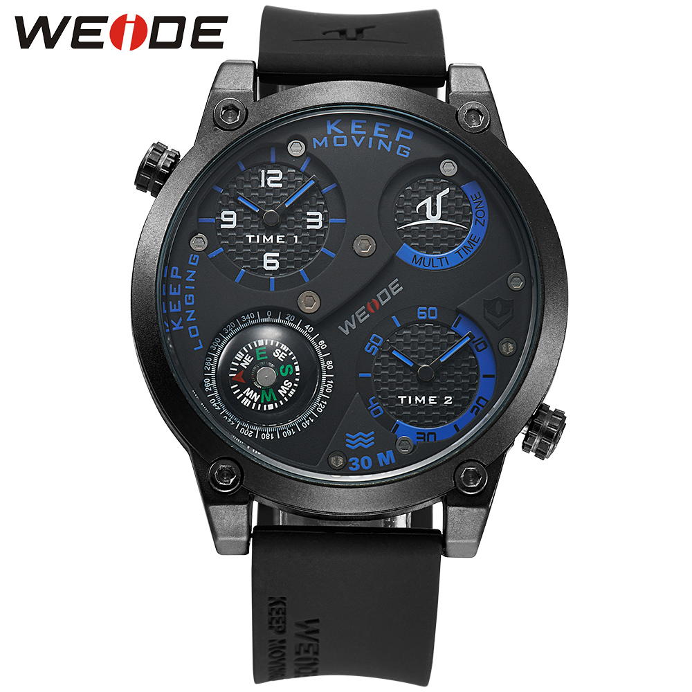 WEIDE Dual Time Zone Black Blue 3D Dial Rubber Band Water Resistant Stainless Buckle Japan Quartz Movement Men Sport Wrist Watch yongruih sz001 durable water resistant rubber band cargo strap for bicycle motorcycle black