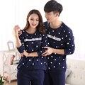 Autumn & winter new Amantes pijamas dos homens pijamas de algodão Puro longo conjuntos & algodão mulheres pijama desgaste porta para casal pijama