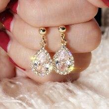 USTAR Elegant CZ Crystals Water Drop Earrings for women Geometric Dangle Earrings female wedding Jewelry hanging Oorbellen gifts недорого