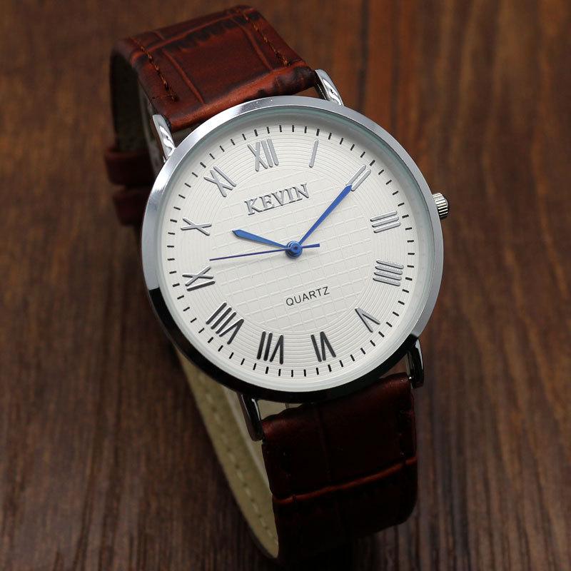 Business Fashion Kevin Thin Dial Brown Genuine Leather Band Quartz Wrist Watch Womens Man Clock Gifts Relogio Masculino W090103 цена и фото
