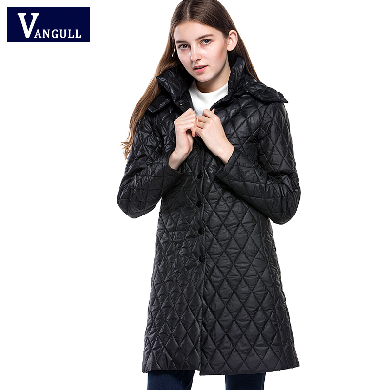 2017 new winter hot-sell woman England style coat fashion loose casual long lady bright black color solid thin but warm parkas hot style three points children quilted loose coat