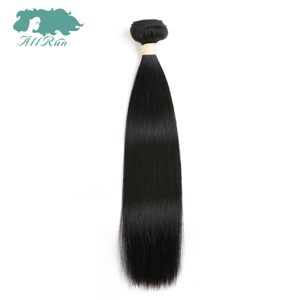 ALLRUN Hair Peruvian 100% Human Hair Straight Bundles 8 to 26 Inches One Piece Natural Color Hair Weave Extension Non-Remy