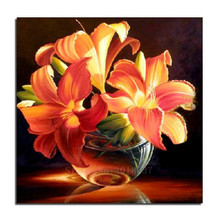 5D Diy Diamond Painting Cross Stitch Lily Of The Glass Bowl Needlework 3D Embroidery Full Round Mosaic Decoration Resin