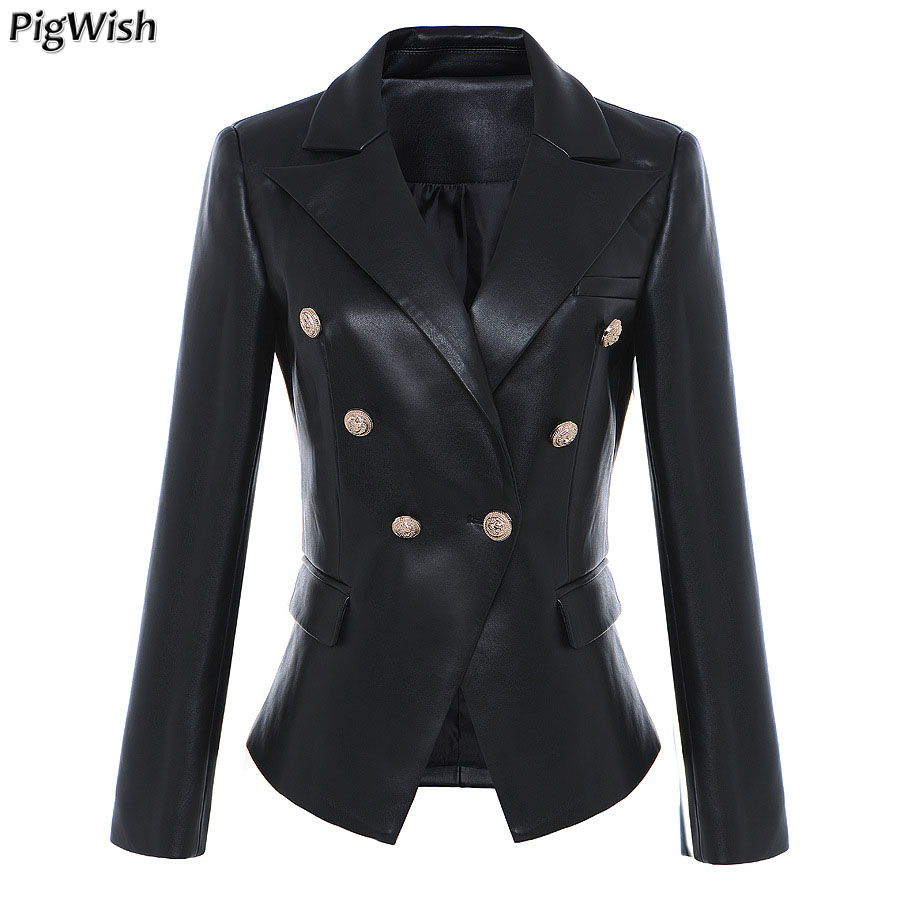 Newest Designer Suits Jacket 2019 High Quality Women s Lion Metal Buttons Faux Leather Blazer Outer