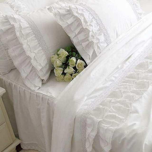 4 Teilesatz Romantische Rüschen Weiß Spitze Bettwäsche Set
