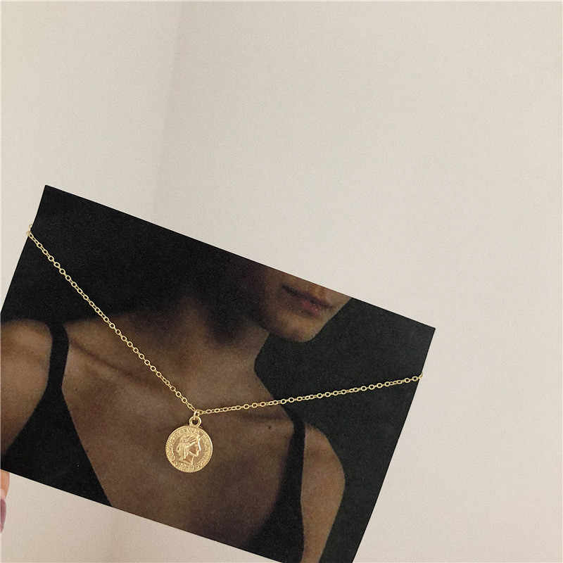MJARTORIA 24K Gold Planted Fashion Coin Necklace Simple Pendant Choker Necklace Jewelry For Women Fashion Necklace Women Chalker