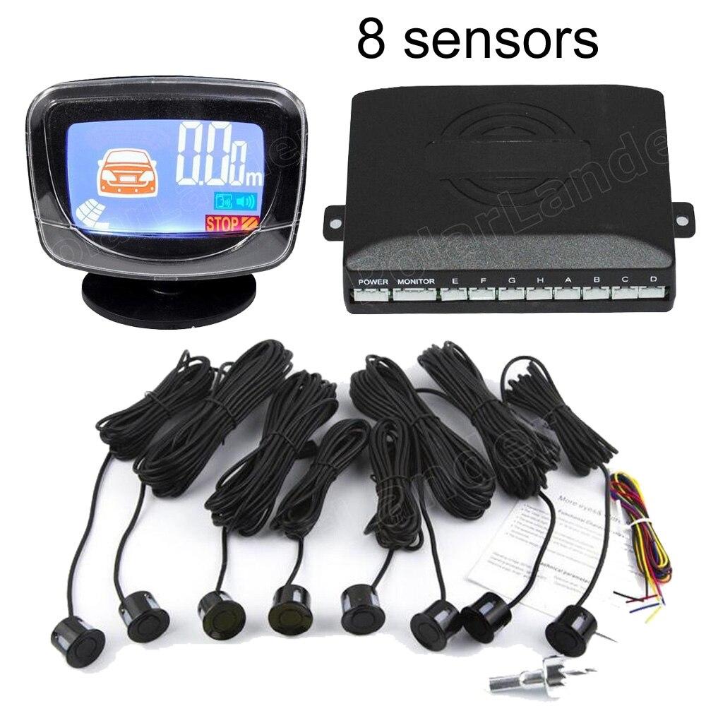 imágenes para Ayuda del estacionamiento del Revés del coche de Copia de seguridad de Radar Sensor de Aparcamiento monitor LCD Display 44 Colores a elegir 8 sensores Parktronic