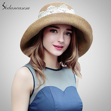 2018 Summer Fashion Ladies Summer Straw Hat With Lace Sun Visor High Quality Wide Brim Hats For Women SW129002