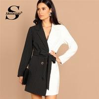 Sheinside Black and White Women Blazer Dress Office Ladies Two Tone Color Block Striped Womens Dresses Long Sleeve Mini Dress