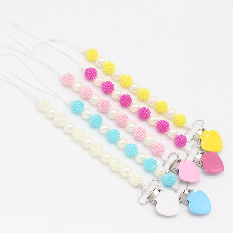 Colorful Mental Love Heart Pacifier Clips Chain Baby Feeding Dummy Nipple Holder Chain Fancy Pearl Beads Leash Strap For Baby
