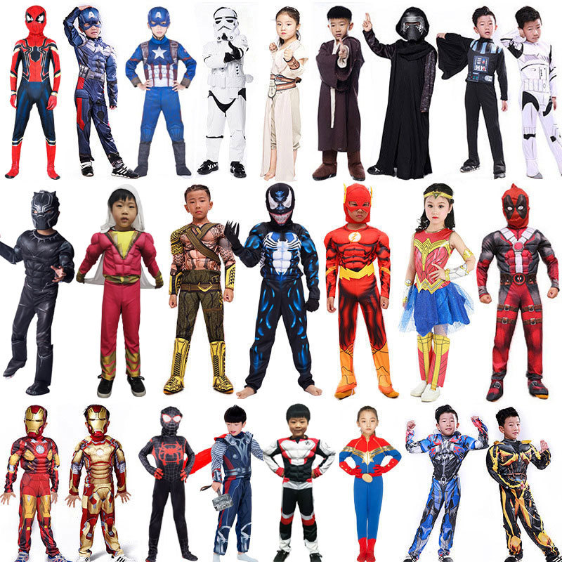 Movie The Avengers Superhero Captian America Iron Man Spider-man Shazam Thor Captain Marvel Fantasia Fancy Dress Costume