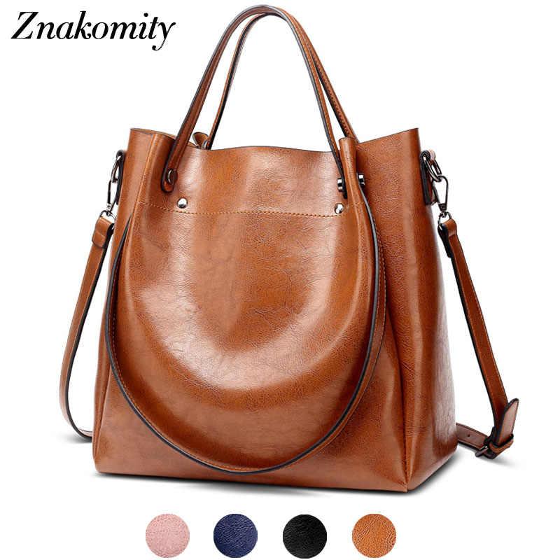 988df35923 Znakomity Brown large women shoulder bag big Fashion Vintage casual Pu  leather handbags ladies tote bag