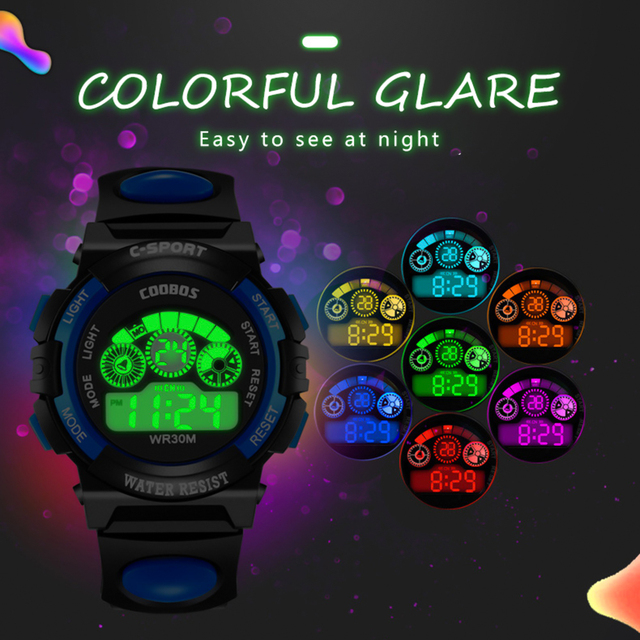 FUNIQUE 2019 Sports Watch Fashion Rubber Band Night Light Wristwatch Waterproof