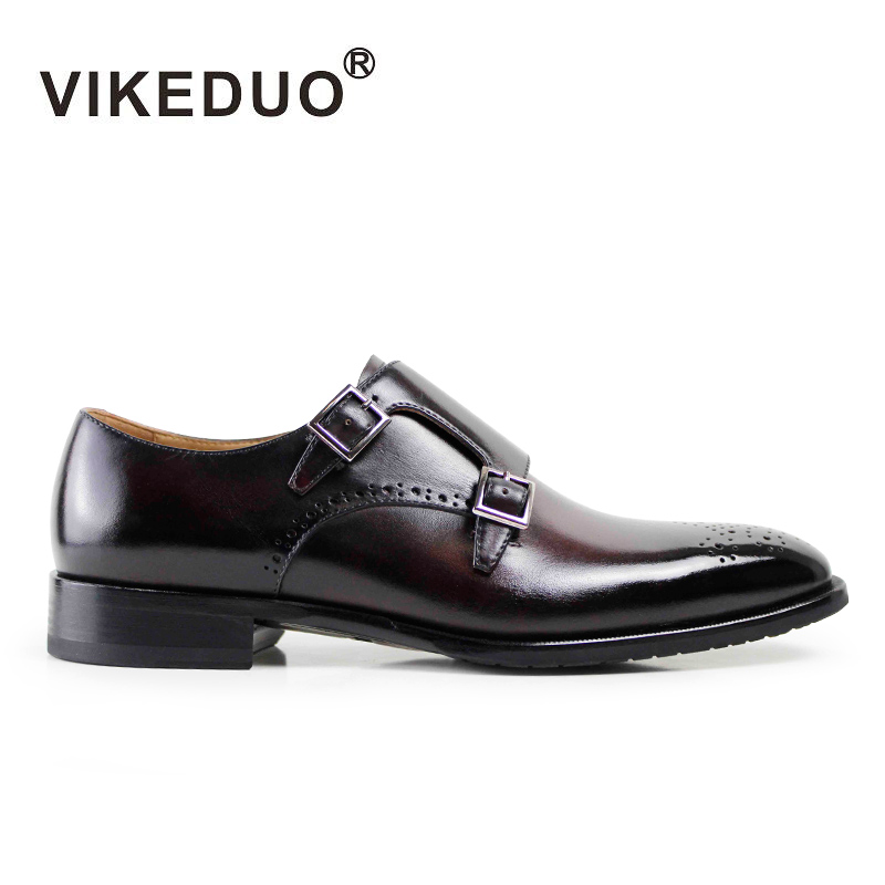 Superstar Vikeduo Handmade Men's Monk Dress Shoes 100% Genuine Leather Flat Men Fashion Wedding Party Office Original Design 2017 vintage retro custom men flat hot sale real mens oxford shoes dress wedding party genuine leather shoes original design