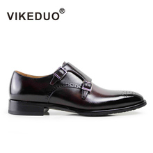 VIKEDUO 2017 Newest Vintage Handmade Mens Monk Shoes Party Business Luxury 100% Genuine Leather Two Buckle Painted Male Footwear