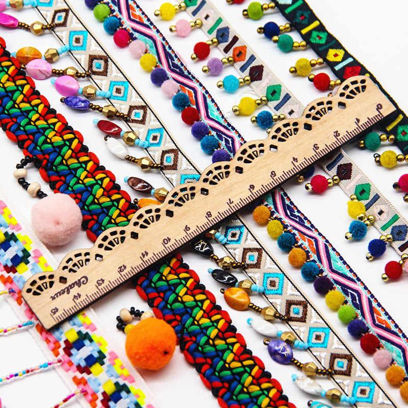 Beade Kwastje Kant Lint Pompom Trim Stof DIY Naaien Kledingstuk Kleding Tassen Schoenen Tas Gift Ambachten Materialen Accessoire 1y/ lot